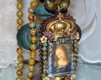 Mary with golden crown bead embroidery hand knotted Picasso beads pendant prayer necklace Pamelia Designs