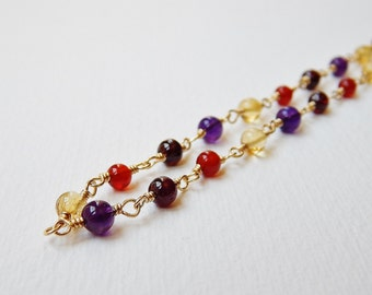 Multi Gemstone Necklace - Gold Filled Beaded Necklace Rosary Necklace Amethyst garnet Citrine Carnelian Beadworn Necklace