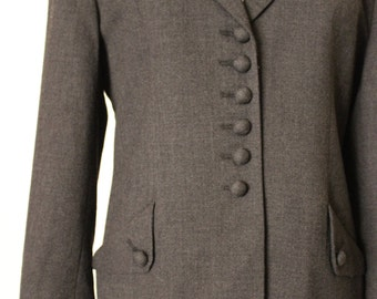 FREE SHIPPING Vintage Grey Wool Blazer Jacket Top Suit Coat    size 8