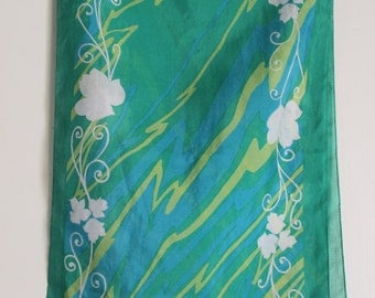 FREE SHIPPING Vintage Green Yellow and White Oblong Floral Scarf