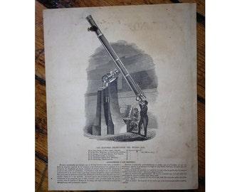 1857 TELESCOPE celestial print original antique astronomy lithograph
