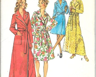 SIMPLICITY 5989 Robe Tie Belt Notched Lapel Short Long Mini Maxi Vintage 1970's Pattern