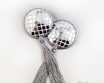 Silver Sequined Disco Ball Nipple Pasties - SugarKitty Couture