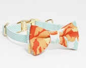 Adjustable Mint Seersucker Dog Collar with Floral Bow- Girl Dog Collar- Mint and Orange Dog Collar with Gold Tone Hardware