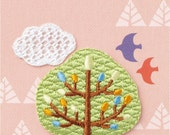 Green Tree & White Cloud Patch, Embroidered Iron On Patch, Japanese Kawaii Nature Iron on Applique, Made in Japan, Embroidery Applique, W029