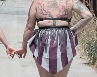 Striped Fringed Circus Garter Belt