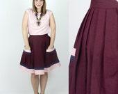 Miso Linen skirt / Color block pleated skirt - Burgundy / Marsala / Cute skirt