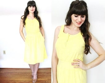 1970s Terry Cloth Dress / 70s Yellow Towel Beach Cover Up