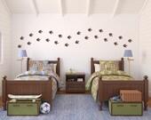 Dinosaur Footprints Wall Decal Set - Boy Bedroom Decal - Dinosaur Tracks Set of 24 - Medium Size