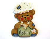 Bear with Honey Pot Ornament or Fridge Magnet, Handpainted Wood