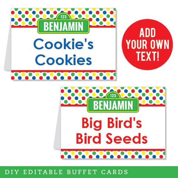 INSTANT DOWNLOAD Sesame Street Party Buffet Cards - EDITABLE Printable File