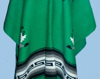 Beautiful Vintage Apple Green Serape/Poncho Man or Woman's SZ M