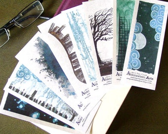 Set of 8 Bookmarks no.3 - reprinting 8 pieces of original art by Amy Crook - blue