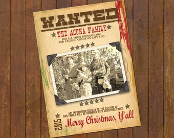Western Christmas Photo Card - Wanted