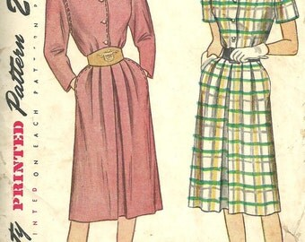 Simplicity 1816 / Vintage 40s Sewing Pattern / Dress / Size 14 Bust 32