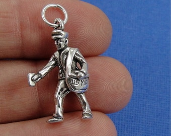Mailman Charm - Sterling Silver Mail Carrier Charm for Necklace or Bracelet