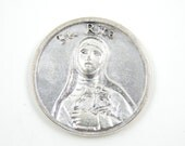 LARGE Saint Rita Catholic Medal - Pocket Medallion - St Charm - Patron Saint of Mothers - Mother's Day Prayer Medal