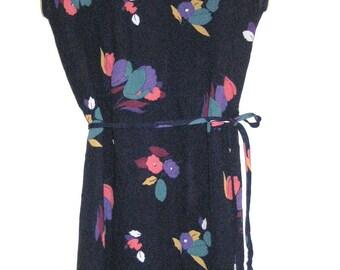 Dress Navy Floral Semi Sheer by Jody T of California 70s Vintage