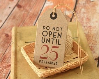 KRAFT Do Not Open Until 25 December Christmas Thick Card Strung Gift Tags