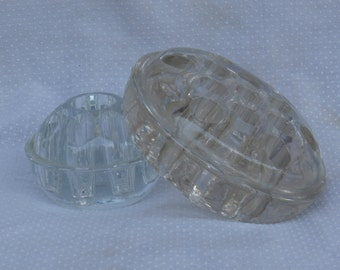 Lot of 2 Vintage Glass Flower Frogs, 13 Hole and 9 Hole