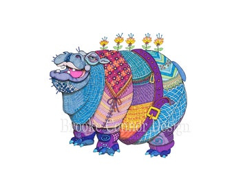 Big Beautiful Hippo Hippopotamus Big Bottomus