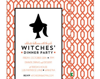 Mod Witch & Geometric Trellis Double-Sided Printed Halloween Invitation | Set of 20
