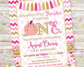Sweet Little Pumpkin, Pink and Gold Pumpkin Birthday Invite, Pink and Gold, Pumpkins Birthday, ONE, First Birthday, Printable DIY Invite