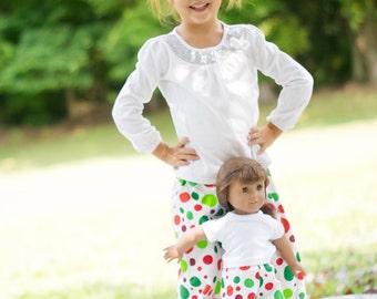 Christmas Pajamas. Matching Christmas Pajamas. Matching Girl and Doll Clothes.  American Girl Matching Pajama Pant Set for Girl and Doll.
