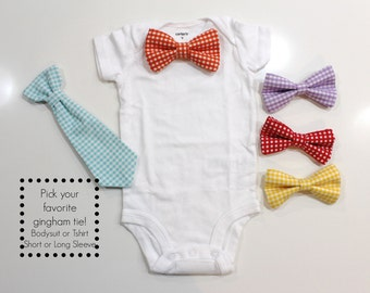 GINGHAM Baby Boy Bow Tie Outfit or toddler bowtie shirt.  Snap on. red blue green orange preppy bowtie bodysuit