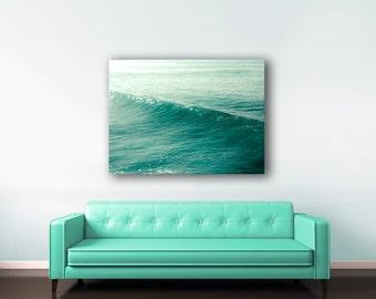 Blue Ocean Canvas, Teal Wall Art, Blue Beach Decor, Large Wall Art Canvas, Waves, Cyan, Turquoise, Tropical Decor