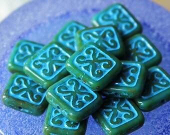 Czech Glass Beads - Jewelry Making Supplies - 12mm  Rectangle Tile Beads - Choose Amount