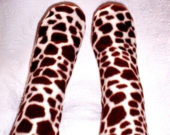 Giraffe Print Fleece Socks, Ladies/Womens Warm Handmade Socks, Go on the wild side with Giraffe Socks