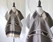 Vintage Alpaca Saddle Blanket Poncho - One Size Fits Most