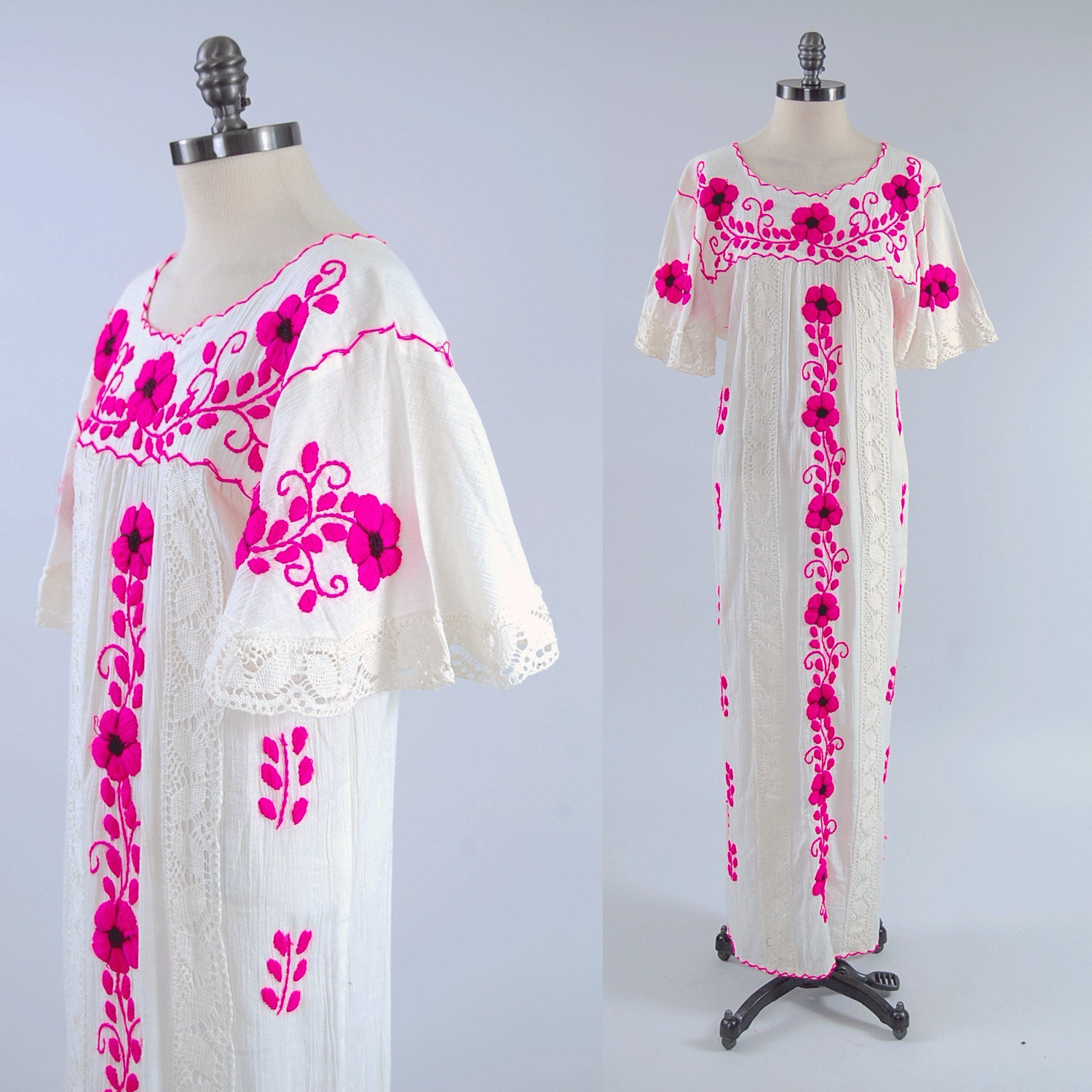 Vintage s cotton gauze mexican embroidered floral maxi dress