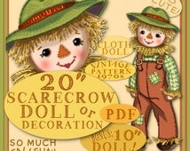 "SCARECROW pdf Doll Pattern So Cute Vintage 1970 FALL 20"" & 10"" Doll  Decoration Halloween Harvest Cloth Doll Raffia Yarn e-pattern download"