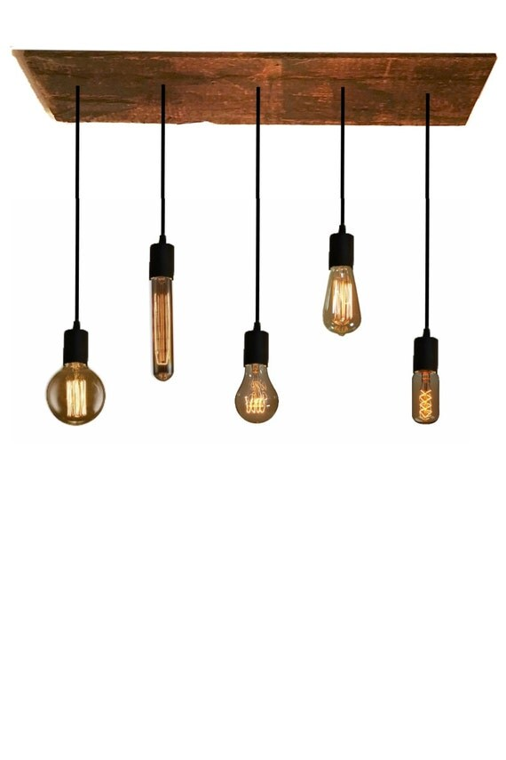 5 Bulb Reclaimed Wood Chandelier Pendant Light By