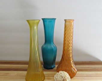 Upcycled Flower Vases - Set of 3 - Orange, Yellow and Green Tint - Vintage, Wedding, Bohemian Home Decor