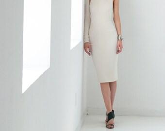 Party Dress / Off White Thick Ponte Dress / Ecru Dress / Ponte One Shoulder Dress / Pencil Dress / marcellamoda - MD003