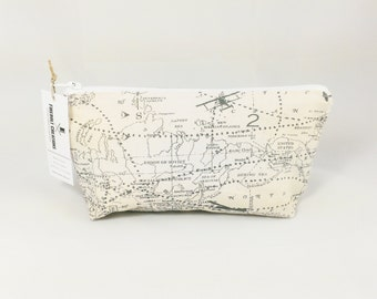 Airplane Map Cosmetic Pouch Shaving Toiletry Bag