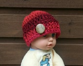 boys crochet hat, boys cap, vegan friendly beanie, red beanie, boys red hat with button, baby beanie, vegan friendly, newborn beanie, 3750