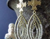 EARRINGS - rhinestone hoop dangle drop bronze infant of prague crosses medals catholic religious, the french circus by robyn parrish