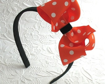 Girls Halloween Headband, Orange and Black Polka Dot Bow Headband, Boutique Bow on Hard Headband, Toddler Halloween Headband, Adult Headband
