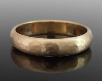 Hammered Half Round 14k Gold Band Ring, Gold Wedding Band, Gold Wedding Ring, 14k Gold Ring, 4 x 1.4 mm, Matte Finish