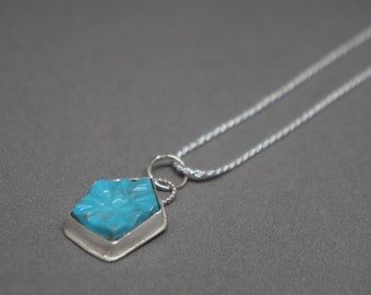 carved sleeping beauty turquoise and sterling silver necklace
