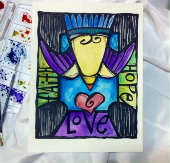 Faith, Hope, And Love Original Watercolor Cross