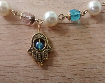 Pearl and Faceted Stone Cerulean Hamsa Bracelet