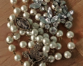 Pearls and Rhinestone Rosary- Longer