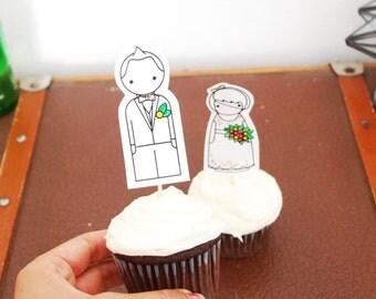 Custom Wedding Cake Toppers, Printable Personalized Cake Toppers, Bride and Groom Cake Toppers, PDF, Rustic Wedding Cake Toppers