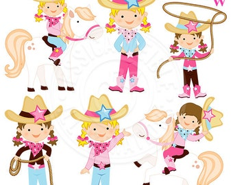 Just Cowgirls Digital Clipart, Cowgirl Graphics, Cowgirl Clip Art, Cute Cowgirl Clipart, Pony Clipart, Cowgirl Rope, Cowgirl Hat, western