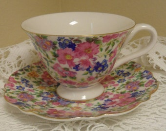 Vintage Chintz  Grace,s Teaware Tea Cup and Saucer Set made in China Wedding Gift